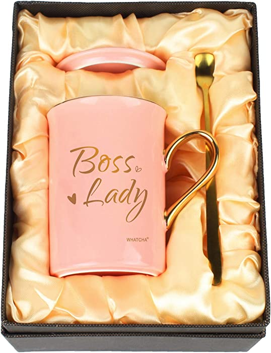 WHATCHA Boss Lady Coffee Mugs Tea Cups - Office Merchandise Gifts for Her on Birthday Christmas Boss's Day - 11oz Ceramic