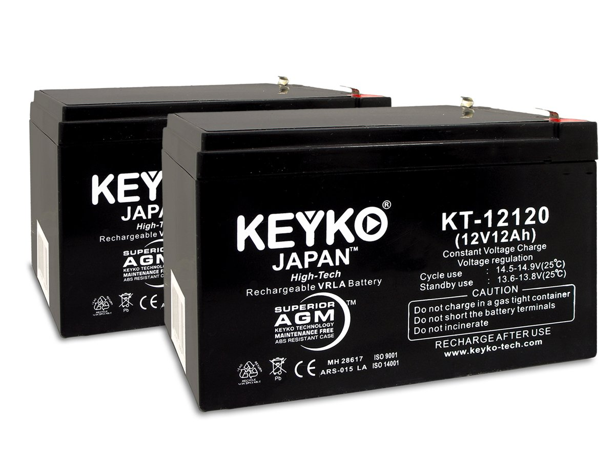 KEYKO Genuine KT-12120 12V 12Ah Battery SLA Sealed Lead Acid / AGM Replacement - F2 Terminal - 2 Pack by KEYKO