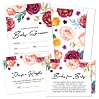 Set of 25 Boho Floral Baby Shower Invitations, Diaper Raffle Tickets and Book Request Cards with Envelopes by Hat Acrobat | It's a Girl Red Flower Fill in Invites for Gender Reveal Party