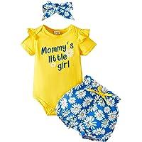 Ropa Bebe Niña Recién Nacido Niña Peleles Monos de Manga Corta + Floral Pantalones + Venda de Pelo,Verano Recién Nacido…