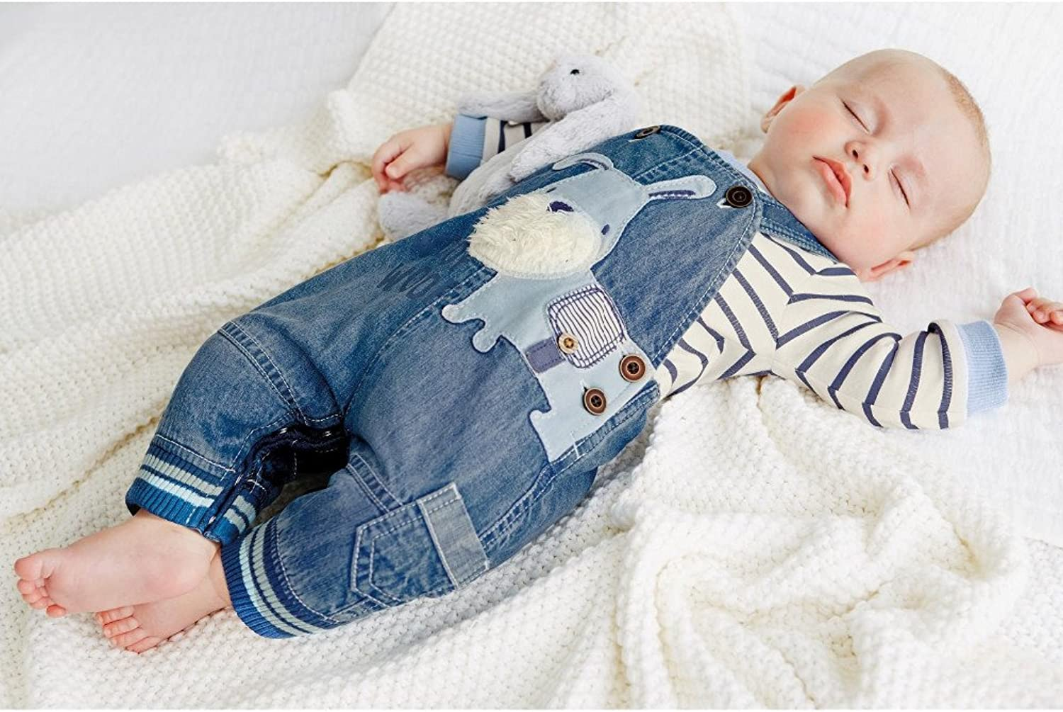 LvYinLi/ Cute/ Baby/ Boy/ Clothes/ Toddler/ Boys/ Striped Long Sleeve T-Shirt+Jumpsuit/ Overalls Pants/ Outfits Sets