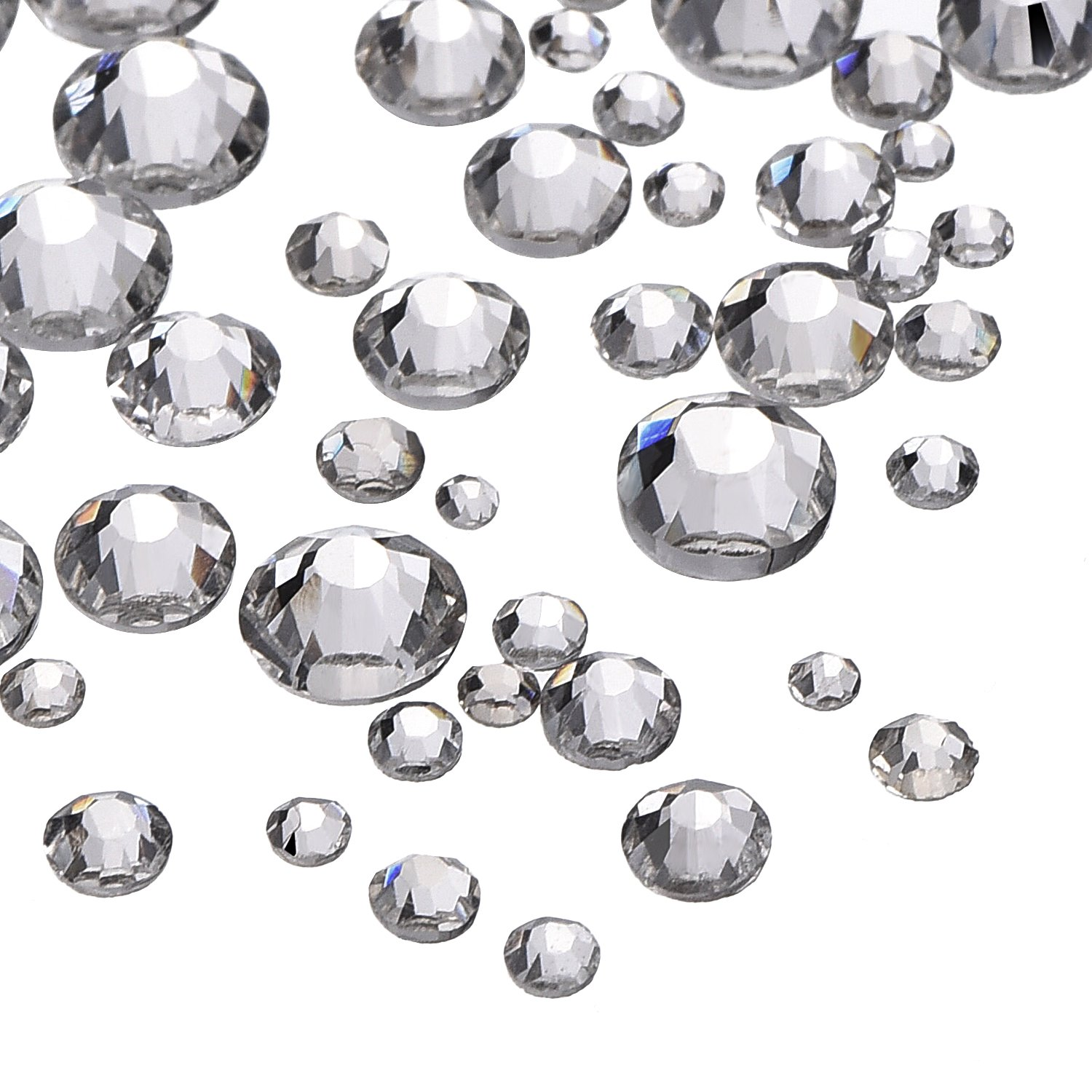 Rhinestone jewels for crafts - Outus 1000 Pieces Clear Flat Back Rhinestones Round Crystal Gems 1 5 Mm 5 Mm 5 Sizes