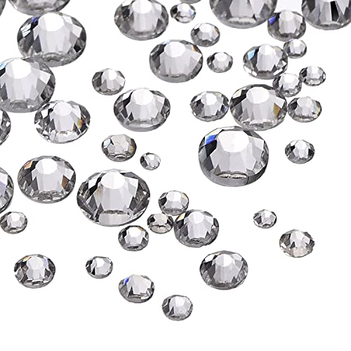 1000 Pieces Clear Flat Back Rhinestones Round Crystal Gems 1.5 mm - 5 mm, 5 Sizes
