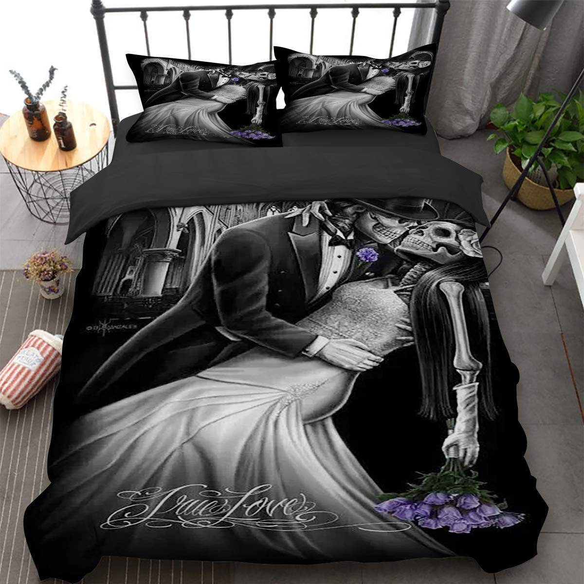 """Guidear A Pair of Skull Lovers Kissing and Dancing Duvet Cover 3 Pieces Super Microfiber Skull Quilt Cover Black King Size Bedding Set 90"""" X 103"""""""