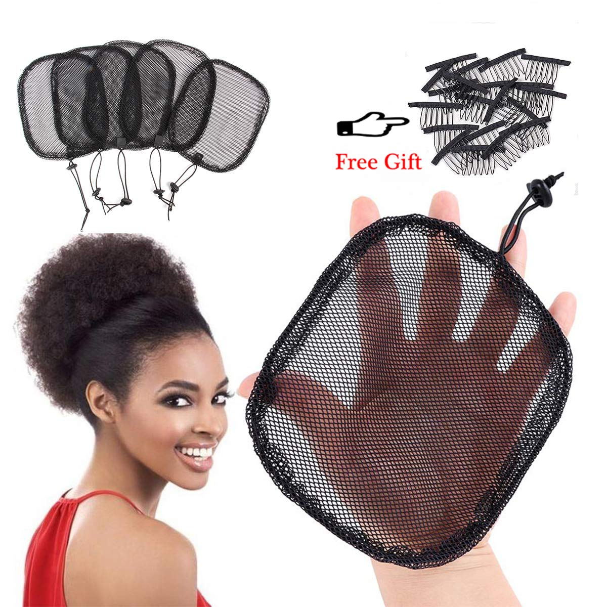 5Pcs/Lot Hair Net For Making Ponytail With Drawstring Black Weaving Wig Cap For Making Afro Hair Buns Stretchy Base For Making Ponytail Weaving Net Cap (Square: L=6.5 x 5.7 Inches) by YOUNIQUE
