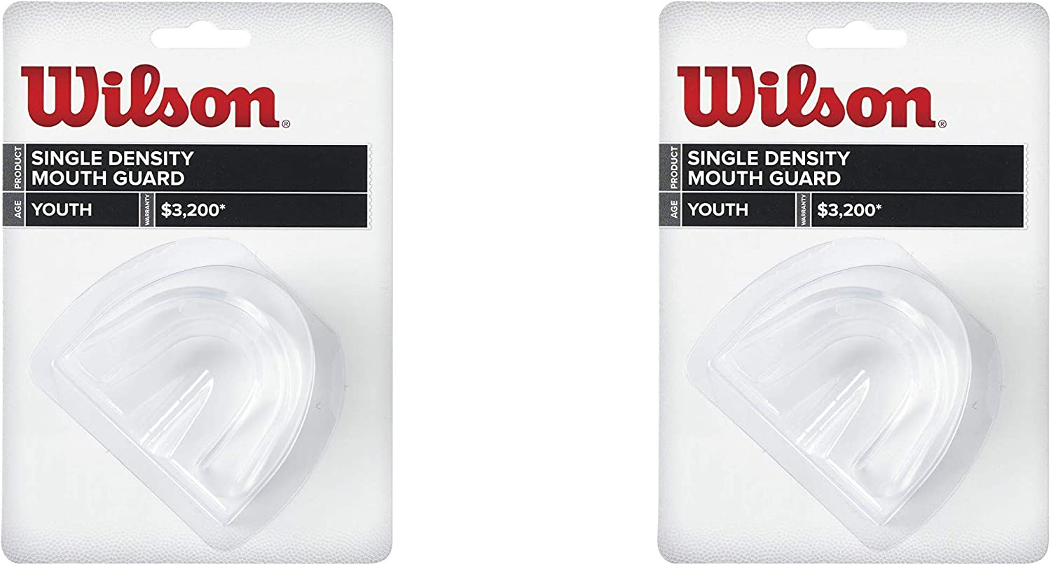 2 Pack Mouth Guard Youth Size Wilson Strapped Single Density Black Made in USA