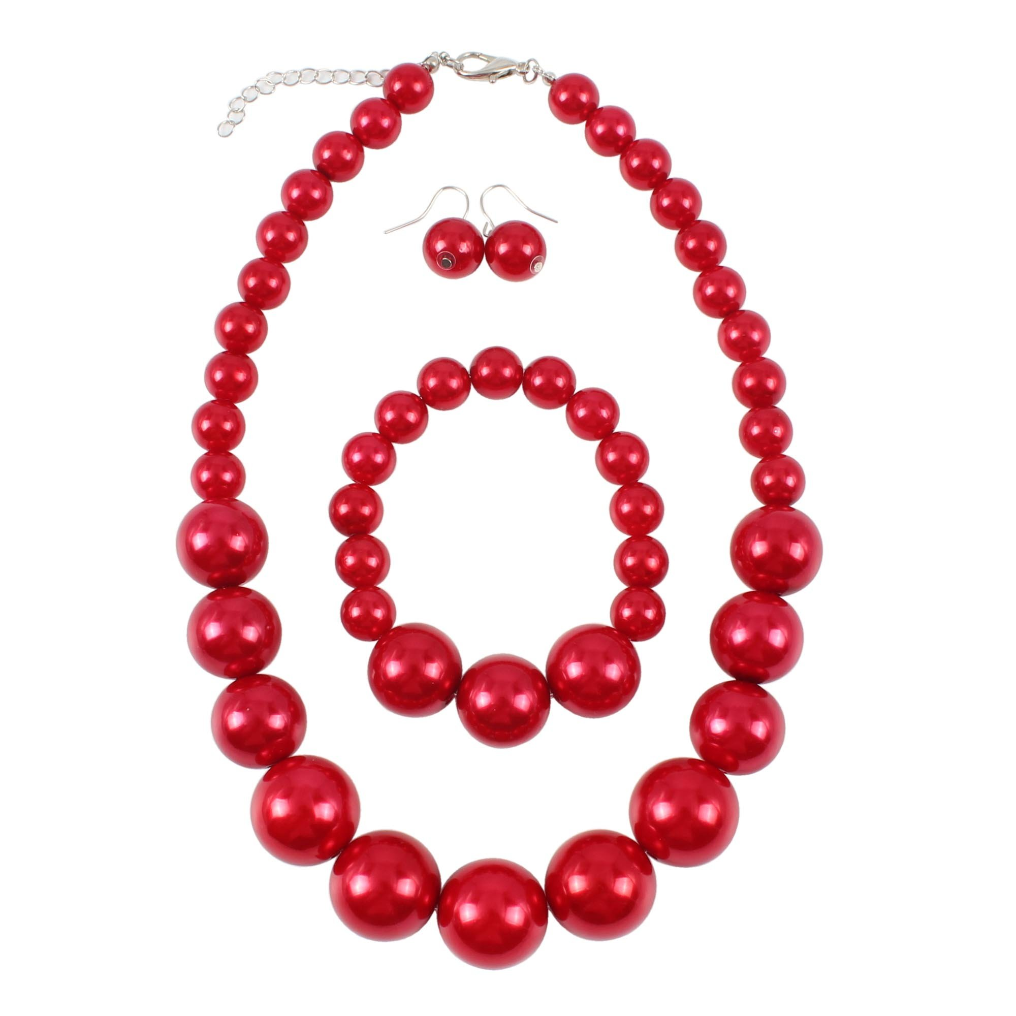 Shineland Simple Large Big Simulated Pearl Statement Necklace Bracelet and Earrings Jewelry Set (Red)