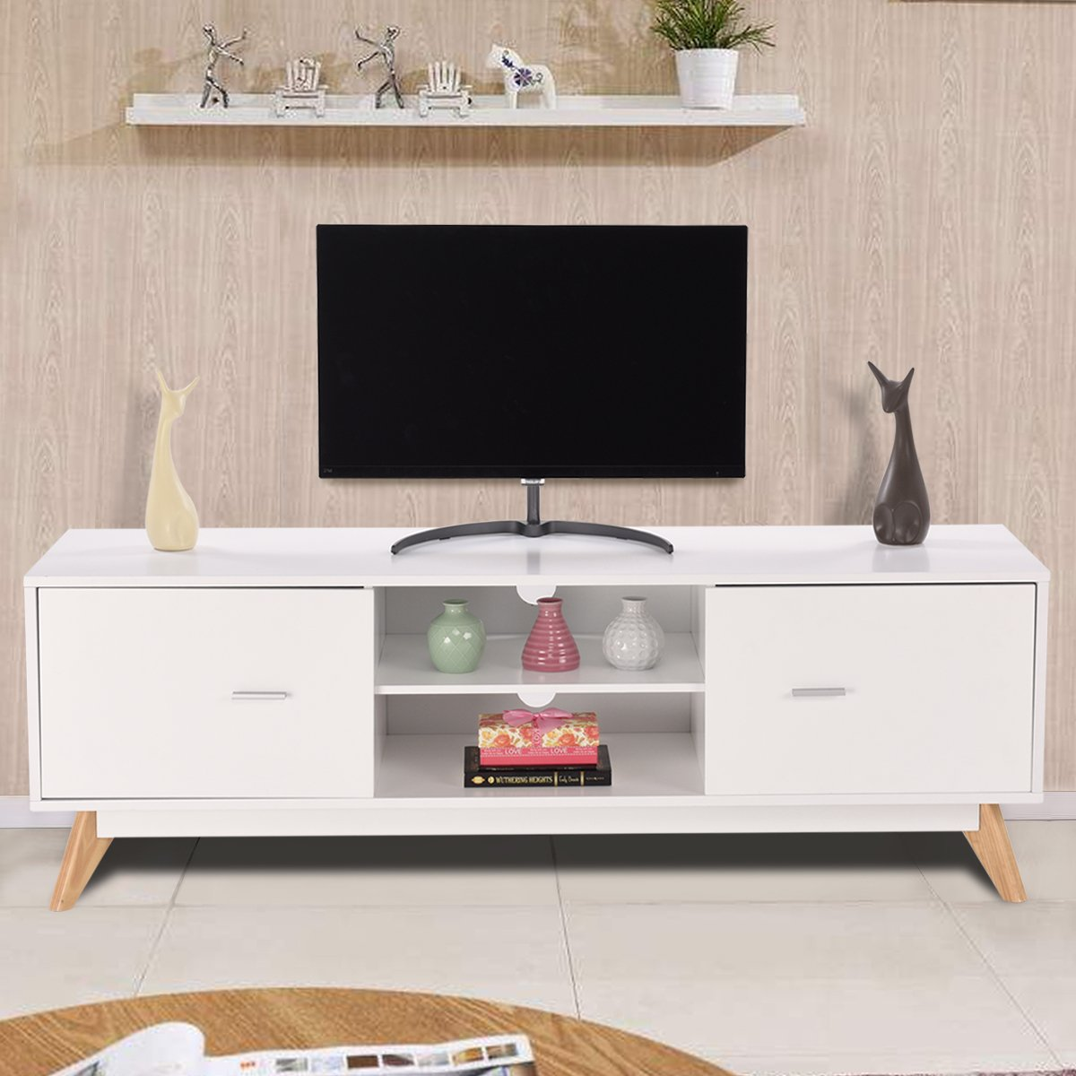 Tangkula Modern TV Stand Wood Storage Console Entertainment Center w/2 Doors and Shelves White Finish