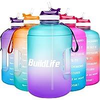 BuildLife - Botella de agua motivacional con tiempo marcado para beber más diariamente, sin BPA, reutilizable, para…