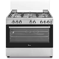 Veneto 90 X 60 cm 5 Gas Burners with Cast iron pan support, Free standing Gas cooker, Stainless Steel - C3X96G5VCF.VN, 1…