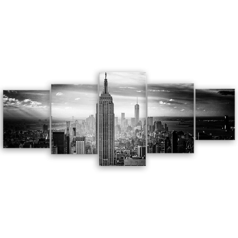 ge Bildet® hochwertiges Leinwandbild - Empire State Building in New York - Schwarz Weiß - 100 x 70 cm einteilig | Wanddeko Wandbild Wandbilder Bild auf Leinwand | 2228BT ge-Bildet