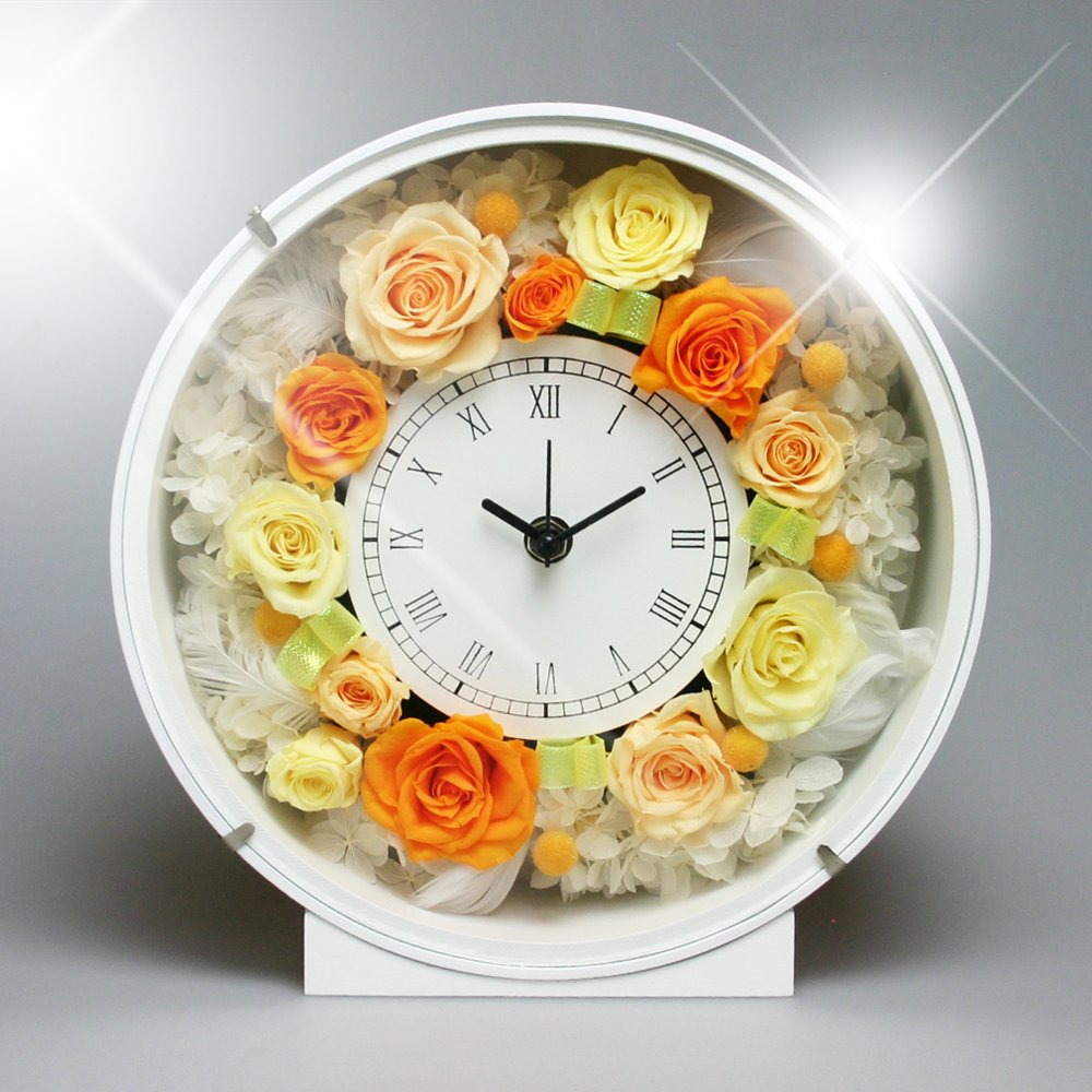 PRECIOUS FLOWER プリザーブドフラワー お花の時計 PSYH-01202 オレンジ B004ZXU8M8 オレンジ オレンジ