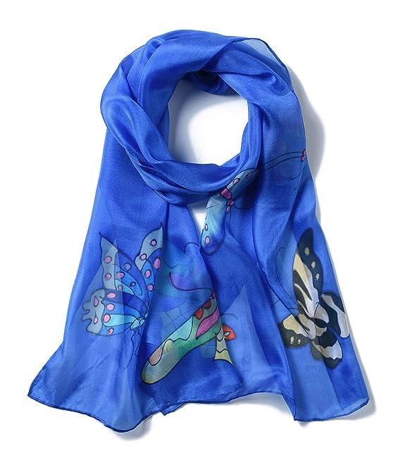 1974fc2a Invisible World Pañuelo Bufanda de 100% Seda Pintado a Mano - Mariposa con  Varios Colores