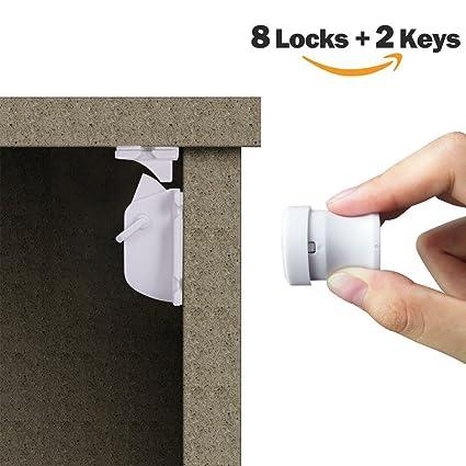 YOOFOSS Cerradura Magnética Seguridad Protector de Cajón Puerta Armario del Bebé, Sin La Perforación,