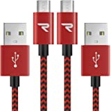 Cable Micro USB Carga Rápida 1m [2-Unidades] GARANTÍA DE por Vida - 2.4A Cable USB Micro USB Sincro y Carga USB para Android, Samsung Galaxy, Kindle, Sony, Nexus, Motorola y más - Rojo