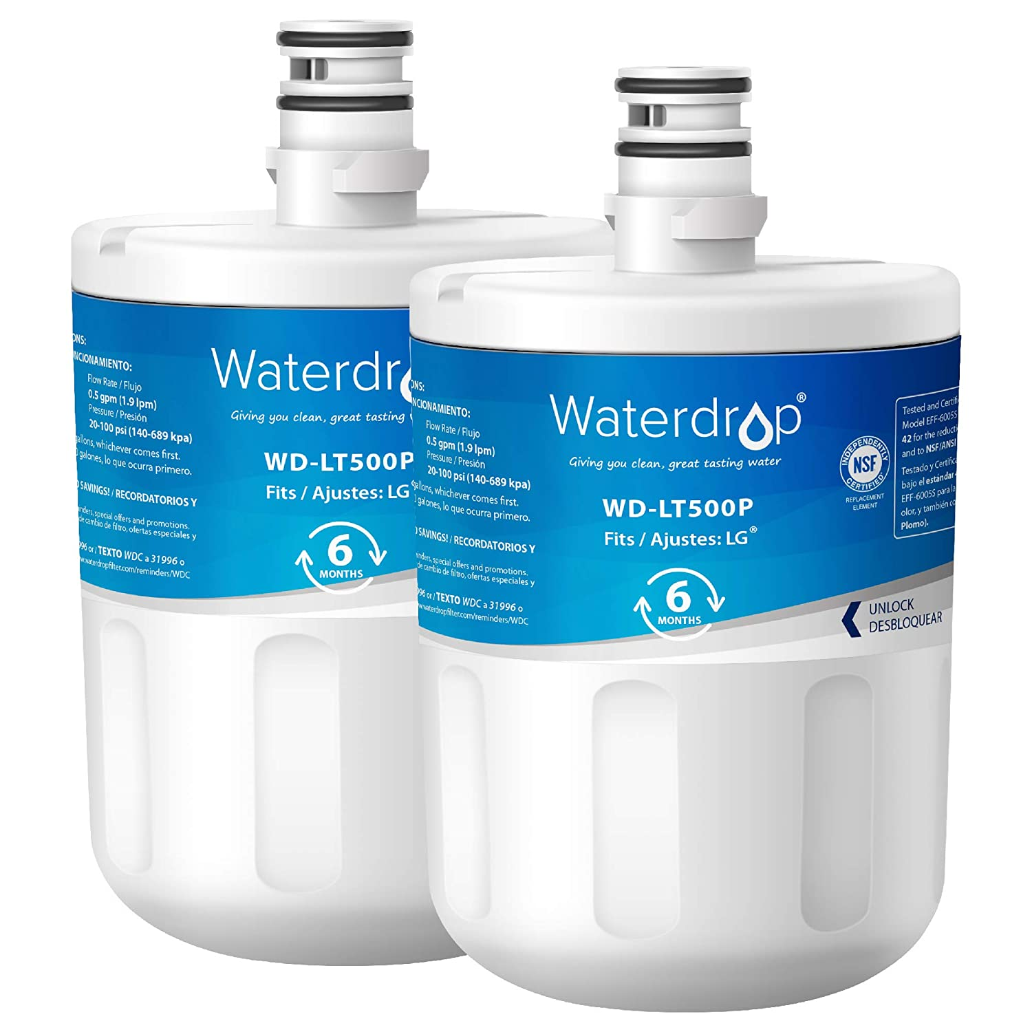 Waterdrop Refrigerator Water Filter, Compatible with LG LT500P, 5231JA2002A, ADQ72910901, ADQ72910907, Kenmore GEN11042FR-08, 9890, 469890, 46-9890, Standard Series, Pack of 2