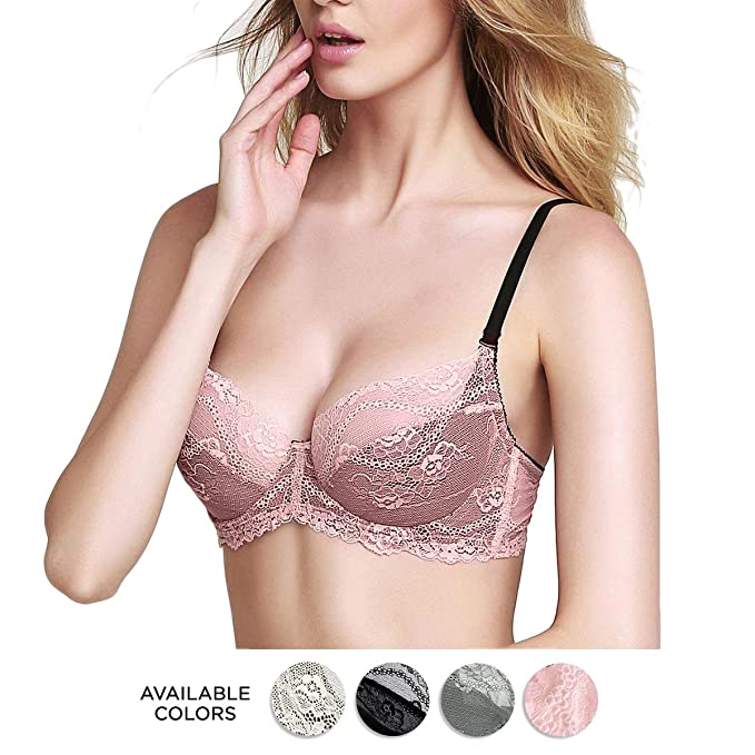 Eve's Temptation Bella Unlined Bra Comfortable and Sexy Lace up Bras for Women,Pink,34C