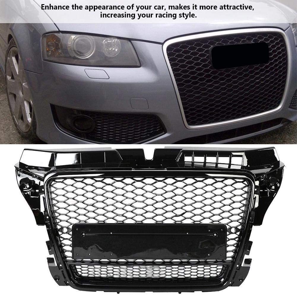 S3 8P 2009 2010 2011 2012 Hlyjoon Hex Mesh Honeycomb Hood Grill RS3 Style Car Front Sport Hex Mesh Honeycomb Bumper Grills Gloss Black for A3