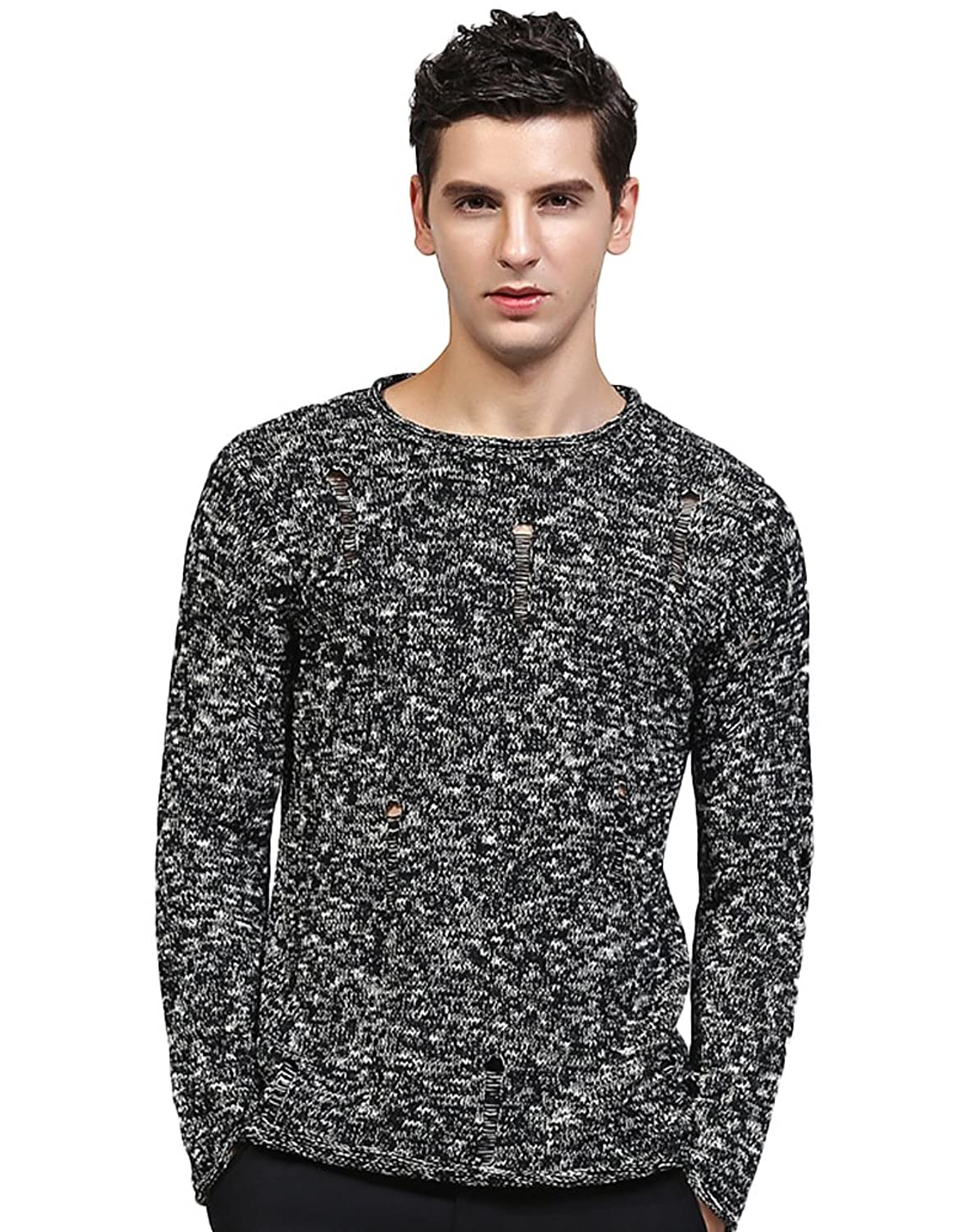 Insun Men's Crew Neck Slim Fit Knit Ripped Long Sleeve Pullover Sweater