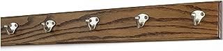 "product image for PegandRail Oak Coat Rack with Satin Nickel Single Style Hooks (Walnut, 25.5"" x 3.5"" with 5 Hooks)"