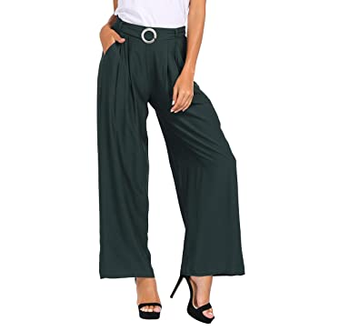 166e315a43 Awalis Womens High Waist Wide Leg Palazzo Lounge Pants Elastic Trousers  with Belt, Small,