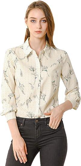 Allegra K Womens Flutter Sleeve Tops Floral Leaf Print Casual Office Blouse