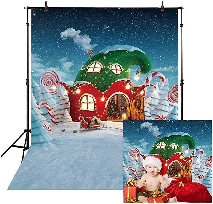 Christmas Holiday Background 10x10ft Santa Clauss Legs Photography Backdrop Xmas Night Moon Snow Roof Chimney Snowfall Gifts Bear Car Candy Baby Kids Wishes Photo Prop Studio Room Decor
