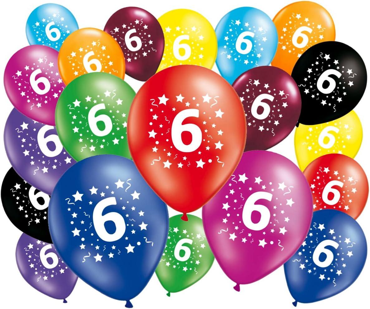 Party Collection Juegos Juguetes Art/ículos de Fiesta Cumplea/ños Decoraciones Conjunto de 16 Globos Motivo 6 a/ños