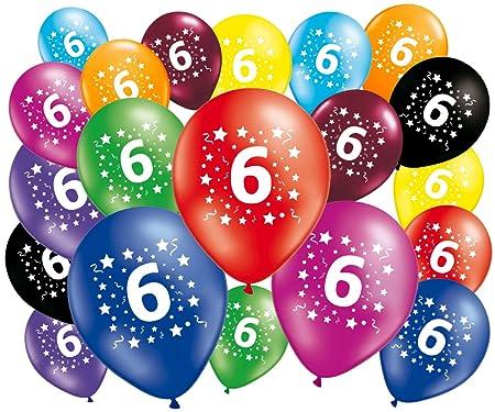 FABSUD – Lote de 20 globos cumpleaños 6 años – 30 cm