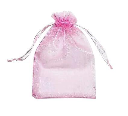 ONW Bolsas de Organza para Envolver Regalo Detalle de Boda Joyas Caramelo Dulces Bolsitas para Regalos ,Rosa 100 PCS 15x20 cm