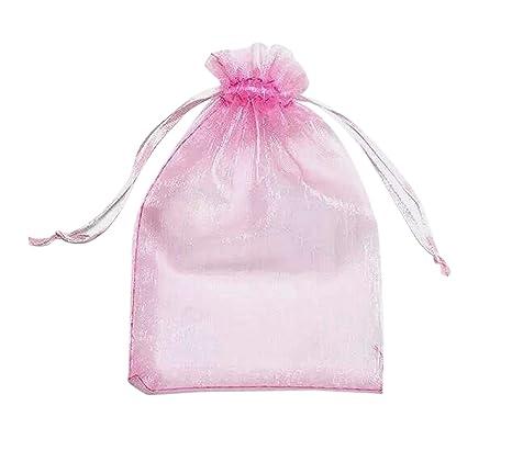 ONW Bolsas de Organza para Envolver Regalo Detalle de Boda Joyas Caramelo Dulces Bolsitas para Regalos ,Rosa 100 PCS 9x12 cm