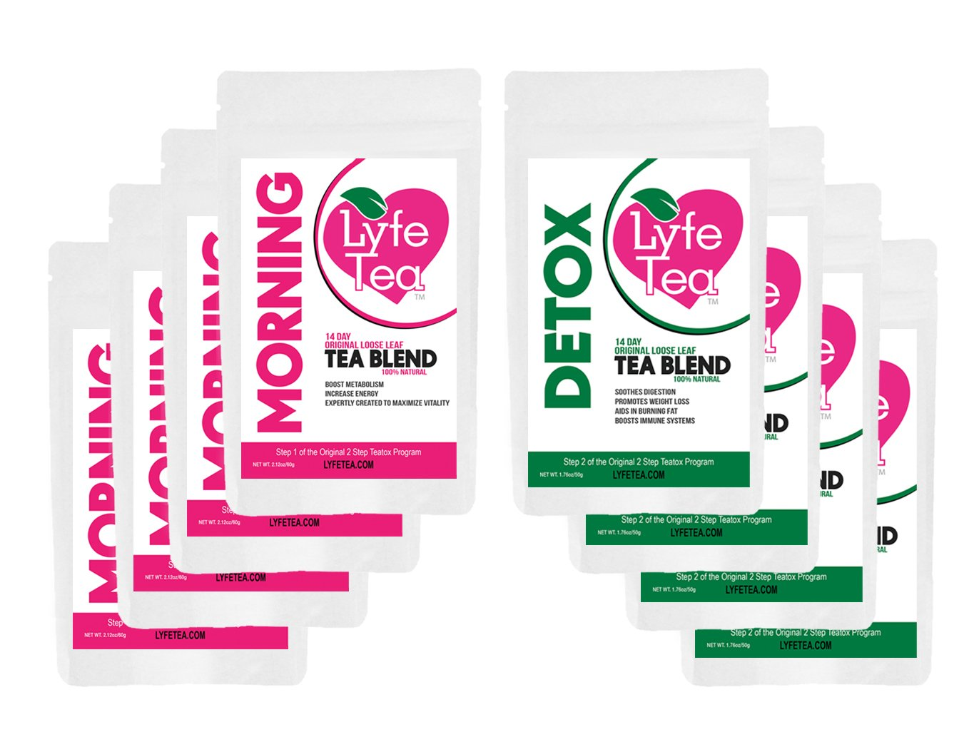 2 x 28 Day Loose Leaf Teatox - Natural Weight Loss - Lyfe Tea Herbal Cleanse Tea Bags - Aid Digestion, Boost Energy, Elevate Mood, Suppress Appetite