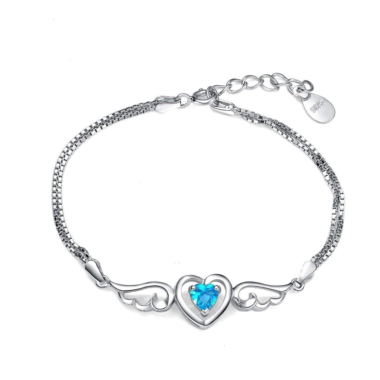 Sterling Silver Women Sky Blue Angel Wings Love Heart Bracelet, Adjustable - Gift for The Ladies Virgin Shine BRA221015039