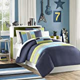 Mi Zone - Pipeline Comforter Set - Navy - Twin/ Twin XL - Striped Pieced Design With Twill Tape - Includes 1 Comforter, 1 Decorative Pillow, 1 Sham
