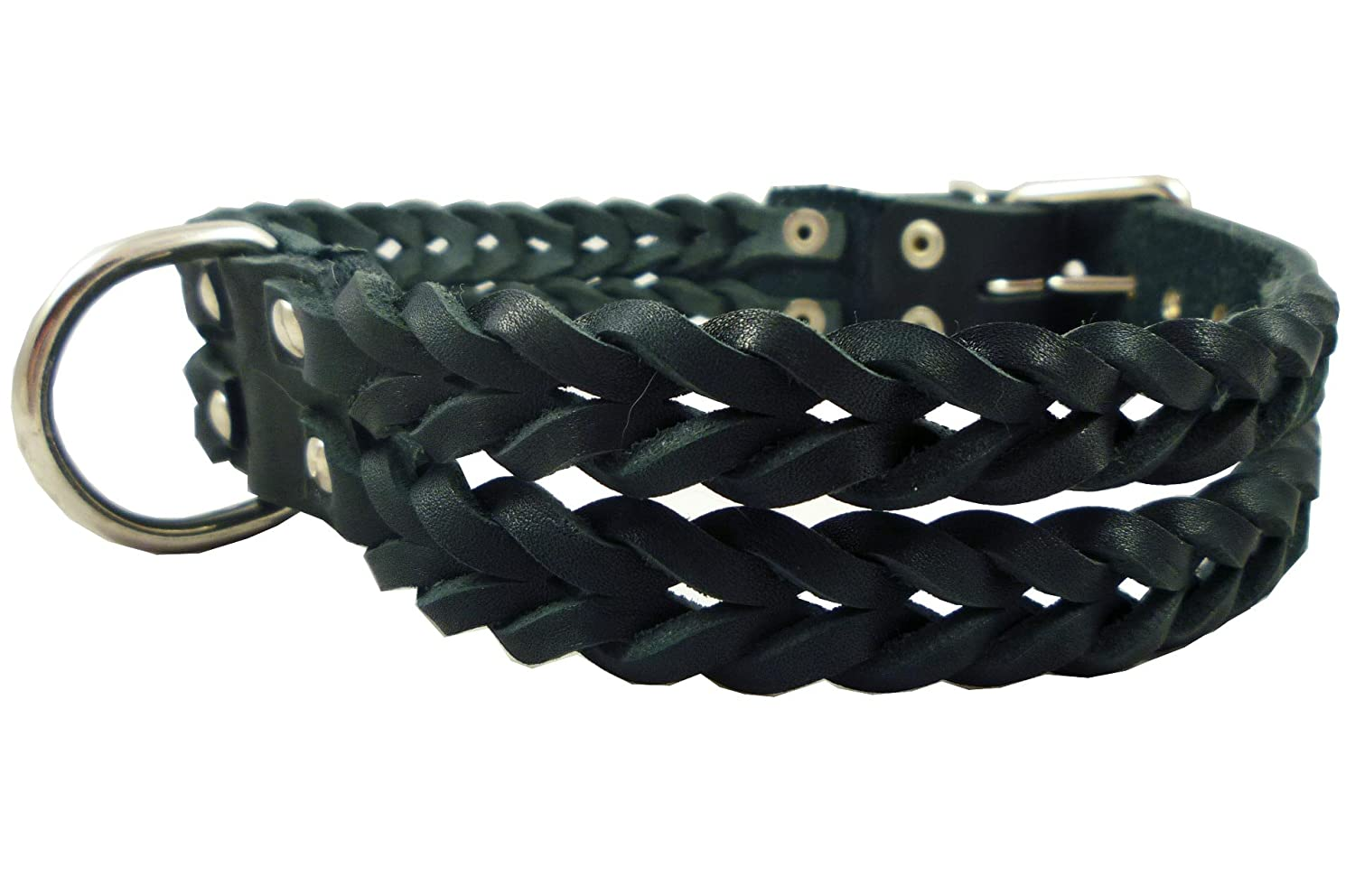 Double Braid Black Genuine Leather Dog Collar Braided 1.5  Wide, Fits 19.5 -22.5  Neck, Large