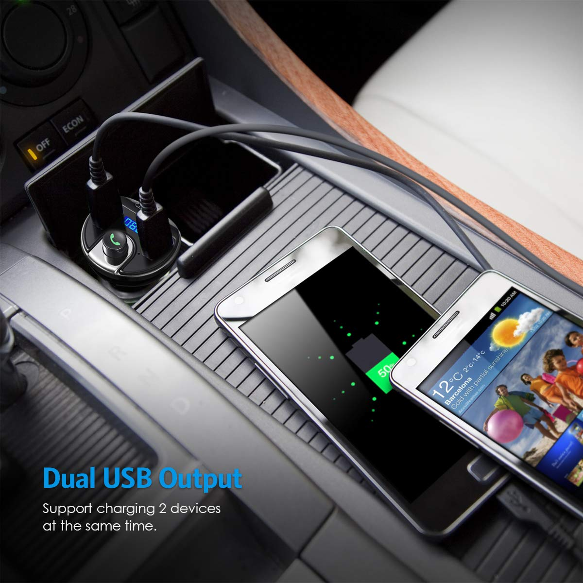 Dual USB Charging Port Hands-Free Call Car Kit Wireless Radio Transmitter Car Adapter Music Player Support Aux Input Output Bluetooth FM Transmitter for Car Full Black Upgraded Version