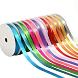 BakeBaking Satin Ribbons, 12 Rainbow Assortment Rolls Variety Pack For Gifts Wrap Craft Fabric Wedding Decorations, Fashion Collection Glow, Assorted Solid Bright Colors