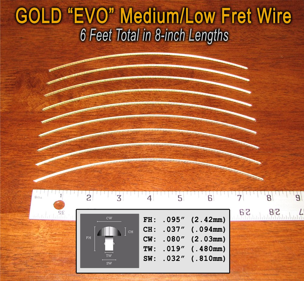 Fret Wire for Guitars and Banjos - Medium/Low Gauge - Jescar Gold EVO alloy - 6 feet C. -8839