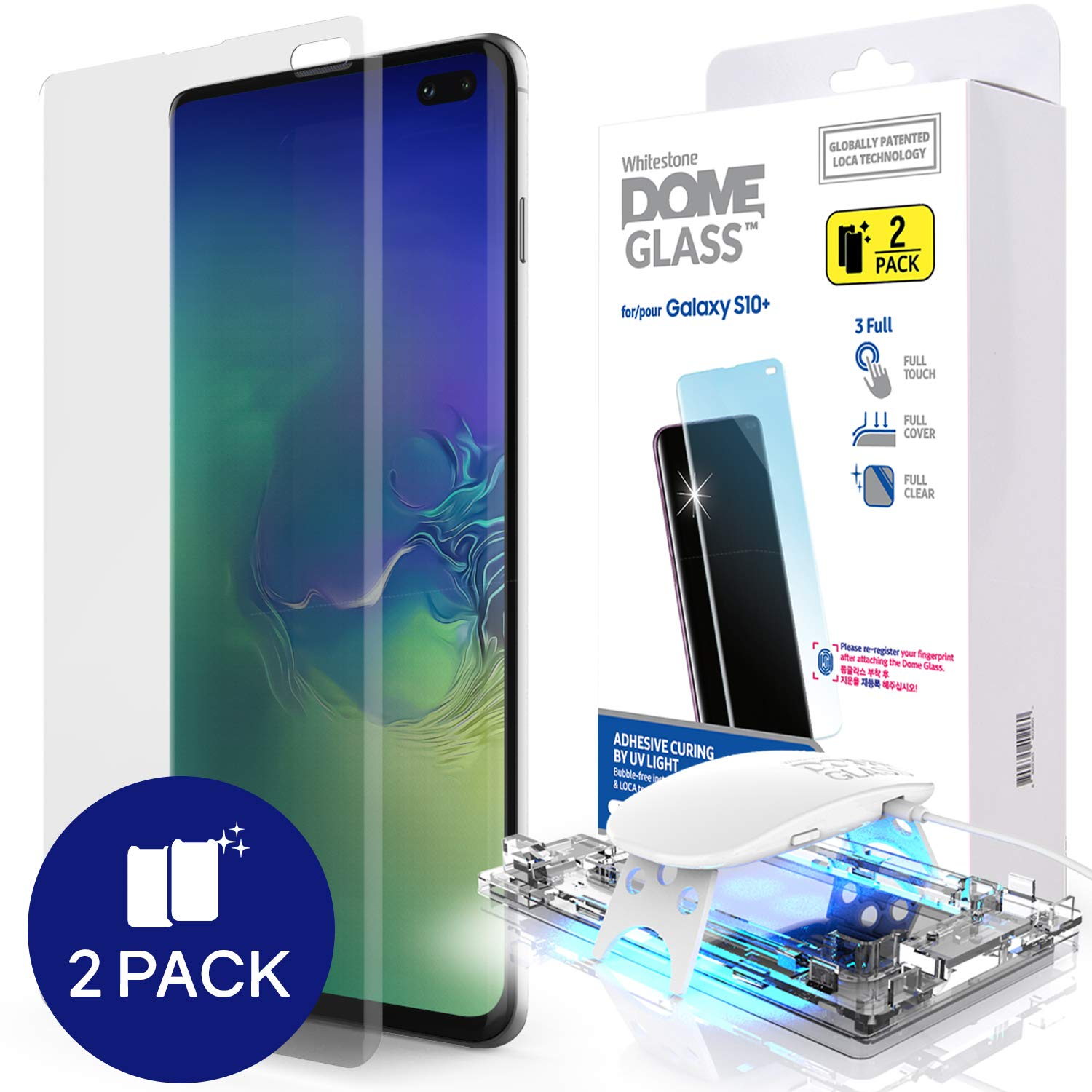 Galaxy S10 Plus Screen Protector, [Dome Glass] Full 3D Curved Edge Tempered Glass [Exclusive Solution for Ultrasonic Fingerprint] Easy Install Kit by Whitestone for Samsung Galaxy S10+ (2019) - 2 Pack by Dome Glass