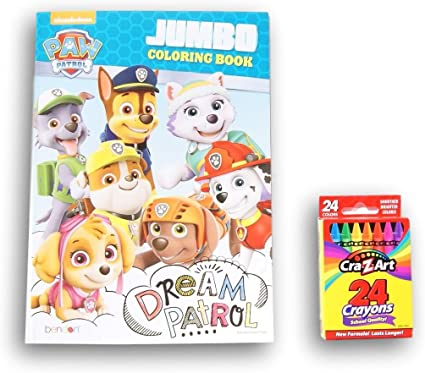 Amazon.com: Paw Patrol With Marshall, Chase, Rubble, Skye, Everest Dream Patrol  Coloring Book With Box Of 24 Crayons: Toys & Games