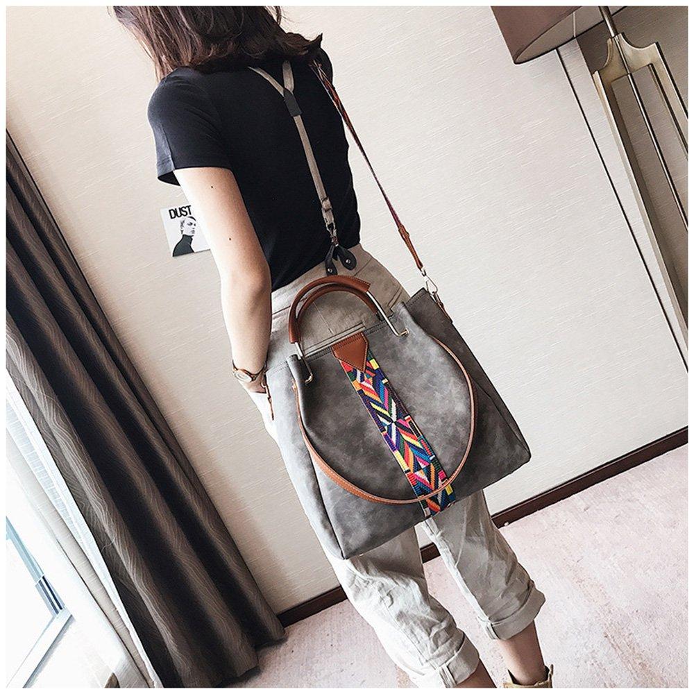 sac à main Porte-monnaie en cuir synthétique 2pcs ensemble sac Sac d'épaule Vintage Cartable de travail gris