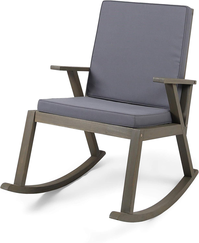 Christopher Knight Home 304651 Brent | Outdoor Acacia Wood Rocking Chair, Grey Finish/Dark Grey Cushion