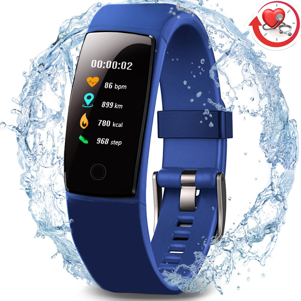 Waterproof Health Tracker,MorePro Fitness Tracker Color Screen Sport Smart Watch,Activity Tracker with Heart Rate Blood Pressure Calories Pedometer Sleep Monitor Call/SMS Remind for Smartphones Gift. by MorePro