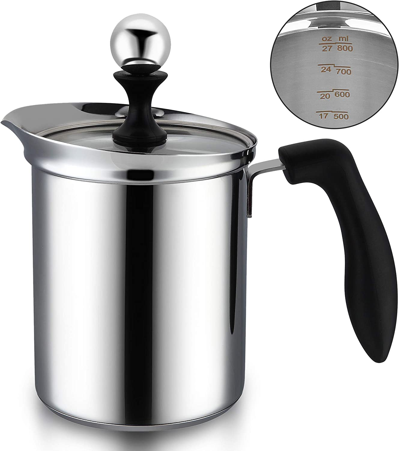 ENLOY 27 Oz Manual Milk Frother, Stainless Steel Handheld Milk Frothing Pitchers, Hand Pump Milk Foamer with Filter Screen for Milk, Coffee Cappuccino, Latte Hot Chocolate, 800ml