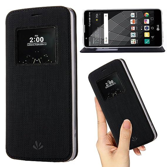 more photos a8829 af9f8 Amazon.com: LG G6 Case,Premium Flip Leather Case View Window Sleep ...