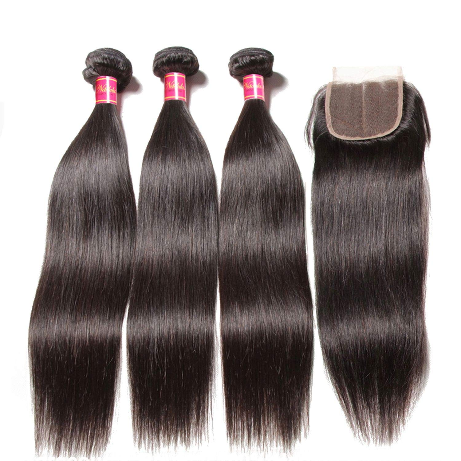 3 Bundles Brazilian Straight Hair With Closure 44 Lace Closure With Human Hair Weaves Natural Black Color Remy Hair,12 14 14 & Closure10,Natural Color,Middle Part