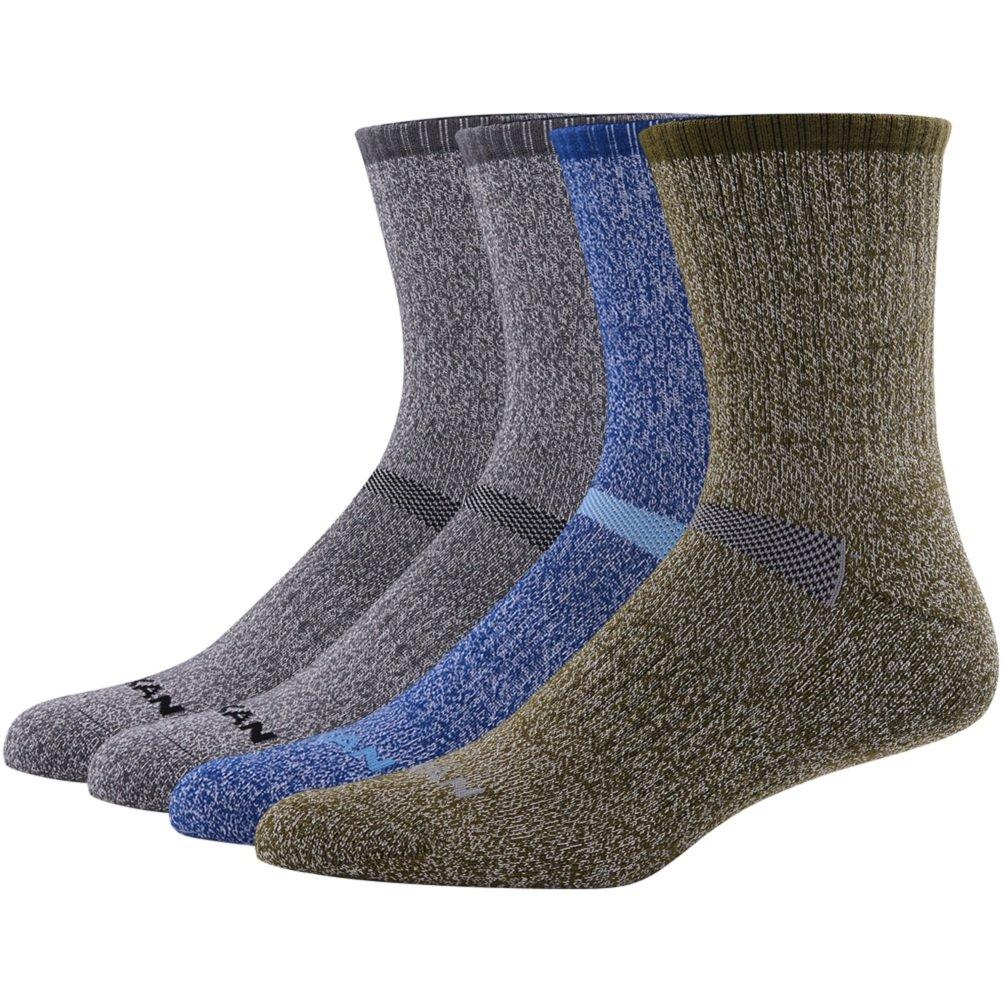 MK MEIKAN Cushion Hiking Socks, Merino Wool Trekking Quick Dry Odor Free Moisture Control Hiker Boot Crew Socks for Men 4 Pairs, 2 Charcoal, 1 Navy Blue, 1 Army Green by MK MEIKAN