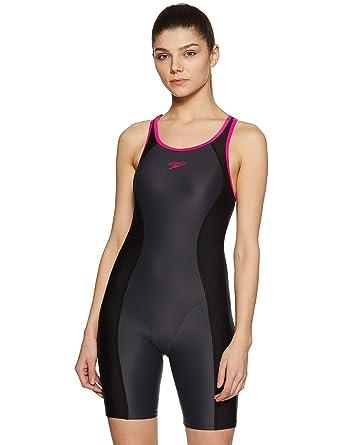 e0a95b8ab55 Speedo Female Swimwear Essential Splice Racerback Legsuit  (8901326554456_8FS392P013_32_Oxide/Black/Electric Pink)