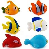 Generic Chu Chu Bath Fish Toys for Baby Aquatic Fish Animals Set of 6 Non Toxic Bath Toy (Multicolour)