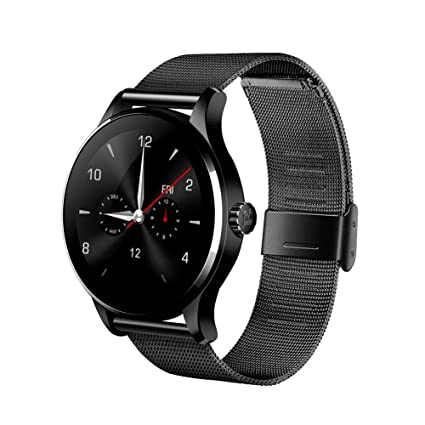LEELVIS Heart Rate Monitor Smart Watch Bluetooth 4.0, Fitness Tracker Water-Resistant Sport Pedometer Round Curved IPS Screen Wristwatch